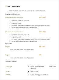 Basic Resume Samples For Free Free Basic Resume Template Details