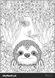 Cute Sloth In Forest Coloring Page