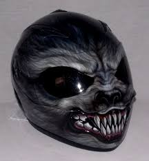 helmet custom 3d painted motorcycle airbrushed werewolf underworld