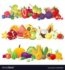 fruit and vegetables border.  Fruit Fruits Vegetables And Berries Borders Vector Image On Fruit And Vegetables Border V