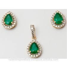 Diamond Designs Tear Drop Emerald Yellow Gold Design Tiny Pendant Set Buy 14k Gold Pendant Set In Emerald Stone Daily Wear Emerald Pendant Earrings Emerald Diamond