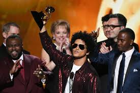 bruno mars accepts al of the year for 24k magic during the 60th annual