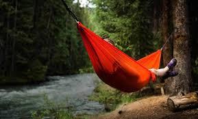 sleeping in hammock