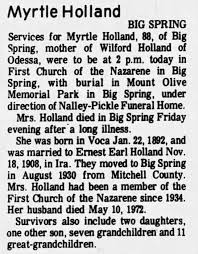 Obituary for Myrtle Holland (Aged 88) - Newspapers.com