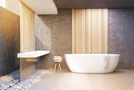 A Bathroom Adorable Front View Of A Bathroom Interior With Gray And Wooden Walls