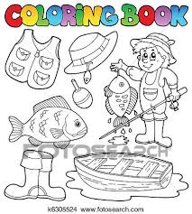 clipart coloring book with fishing gear fotosearch search clip art ilration murals