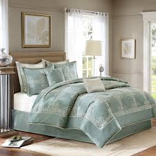 com madison park signature newhaven king size bed comforter set bed in a bag turquoise jacquard with medallion 8 pieces bedding sets ultra