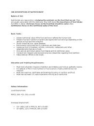 Food And Nutrition Job Description 9 Sample Nutritionist Job ...