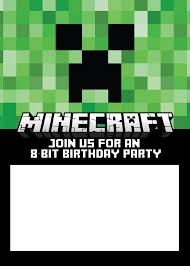 minecraft invitations party invite 8 bit birthday party facebook