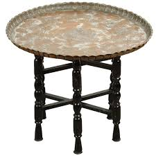 vintage middle eastern etched round copper tray table for