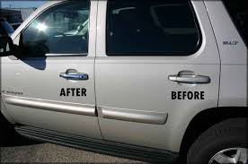 chevy tahoe with chrome door handle cover trim installed