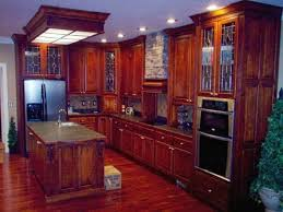 kitchen elegantly using wooden cabinets and box fluorescent lighting