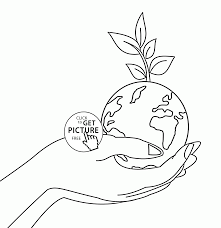 Small Picture Planet earth on Hand Earth Day coloring page for kids coloring