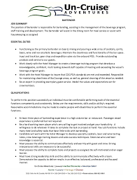 Cruise Ship Bartender Sample Resume