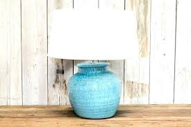 teal blue lamp base w round shade glass table