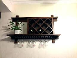 wall hanging wine rack mount wooden mounted wood bar mango steam with shelf and stemware