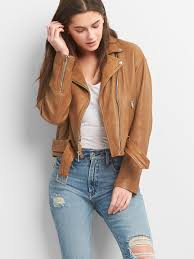 belted moto jacket in leather