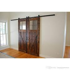 double track sliding barn doors attractive 6 8ft arrow design byp wood door closet with 16