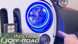 jeep wrangler jk oracle lighting headlight halo ring kit led 7 colorshift 2007 2018 installation