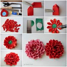 Paper Ribbon Flower Diy Satin Ribbon Dahlia Petals