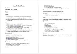 Model Resume Best Modeling Resume Template Modeling Resume Sample Free Modeling Resume