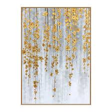 best handmade modern abstract golden palette knife flower oil painting on canvas living room decorative hand