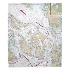 Nautical Charts San Juan Islands Wa Wa San Juan Islands Nautical Chart Blanket