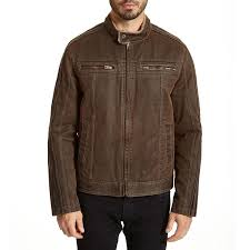 mens brown faux leather moto jacket with sherpa lined collar