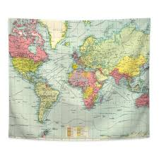 world map tapestry vintage political map of the world world map print tapestry wall hanging art