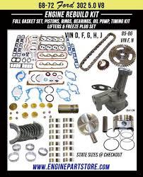68 86 ford 5 0l 302 v8 16v ohv engine rebuild kit for comet cougar 68 86 ford 5 0l 302 v8 16v ohv engine rebuild kit for comet cougar custom fairlane galaxie maverick mustang torino and more