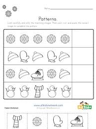 Each free worksheet has 4 patterns and kids are instructed to cut and paste the pictures to complete each pattern. Winter Cut And Paste Patterns Worksheet All Kids Network