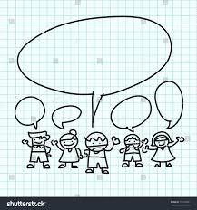 Kids Hand Draw Cartoon On Blue Stock Vector Royalty Free 117530557