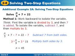 additional example 2a solving two step equations