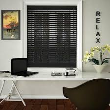 black wooden blinds. 50mm Slats Wooden Venetian Blinds - 100cm X Black O