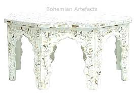 mother of pearl end table bone inlay fl design coffee legs mats pier 1 fl