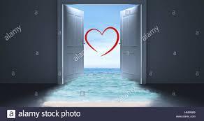 open door to sea with heart shape