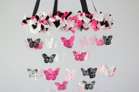 pink black  white butterfly nursery chandelier on luulla