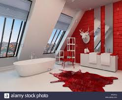 spacious all white bathroom. Dramatic Spacious Red And White Bathroom Interior With A Freestanding Tub, Sloping Wall View Windows, Double Vanity Trophy On The All W