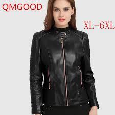 qmgood autumn winter women s leather jacket 6xl large size female coat faux leather motorcycle jacket plus
