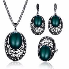 vintage indian jewelry sets for women antique silver black crystal big oval green resin stone pendant