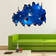 blue outer space 3d galaxy wall sticker decals removable vinyl art home decor