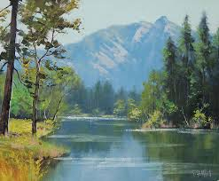 river painting rocky mountains by graham gercken