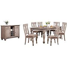 kings brand almon 2 tone brown wood 8 piece rectangle dining room set table 6 chairs server