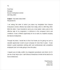 7+ Resignation Letters 2 Week Notice | Sample Templates