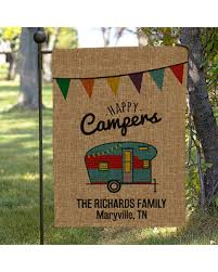 camping garden flag. Plain Camping Personalized Happy Camper Burlap Garden Flag Camping Garden Decor Home  Personalized For Camping Flag