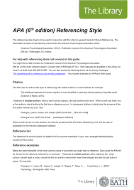 Apa 6th Edition Referencing Style