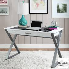 bayside furnishings writing desk with tempered glass top storage drawer