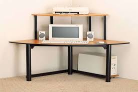 small corner furniture. Furniture:Deluxe Simple Small Corner Computer Desk Design Inspiration With Black Iron Frame And Rattan Furniture