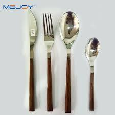 wood stainless steel cutlery set wooden handle flatware knife fork spoon sets