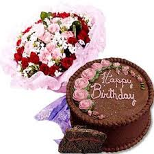 seasonal flowers with chocolate cake